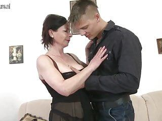 Older mother getting drilled by her toy hunk
