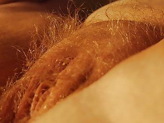 Very shaggy blond with rock hard cum-hole in close up