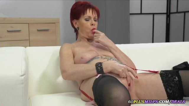 Granny solo porn movie scene