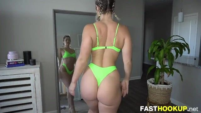 Large butt trying on hot bikinis