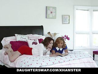 Daughterswap - 2 sexy mommys share their legal age teenager bi daughters