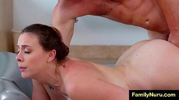 Stepmom massage sons schlong below shower