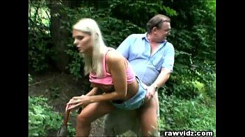 Perv daddy bangs sexy golden-haired legal age teenager at the park