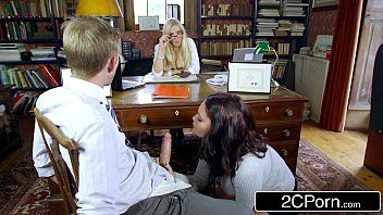 Hot student emma leigh engulfing off co-ed in front of principal rebecca moore