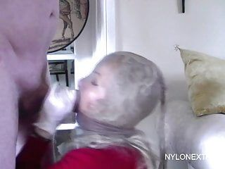 Maschera di nylon babe bj e sperma sul viso