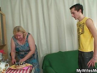 Large tited not mother inlaw pleases him