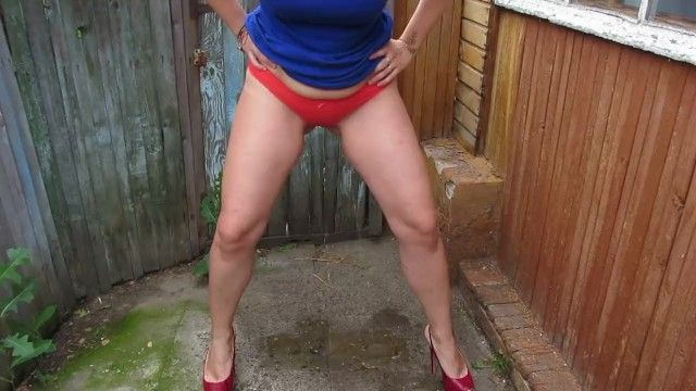 Pissing in pants taking off nylon tights, older milf in high heels