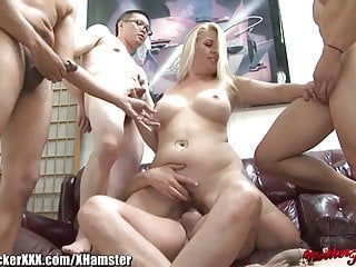 Fat floozy wife gang group-fucked cuckold