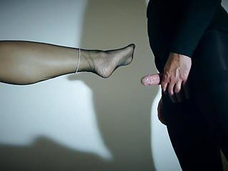 Hard sex sm footjob jerking off milf nylons
