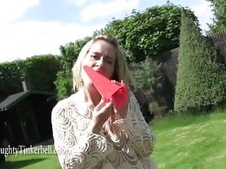 Excited blond milf anal bonks large traffic cone toying twat