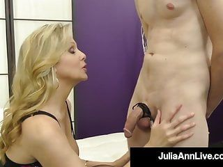 Fem taskmaster cougar julia ann teases pecker with her hosed feet